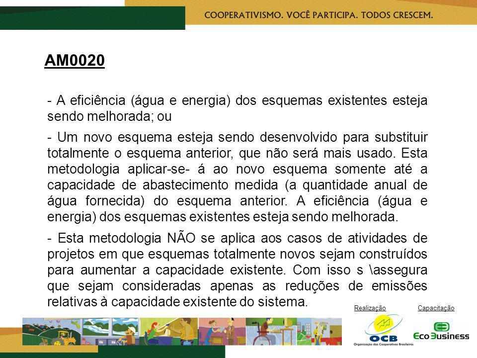 AM0020 - A eficiência (água e energia) dos esquemas existentes esteja sendo melhorada; ou.