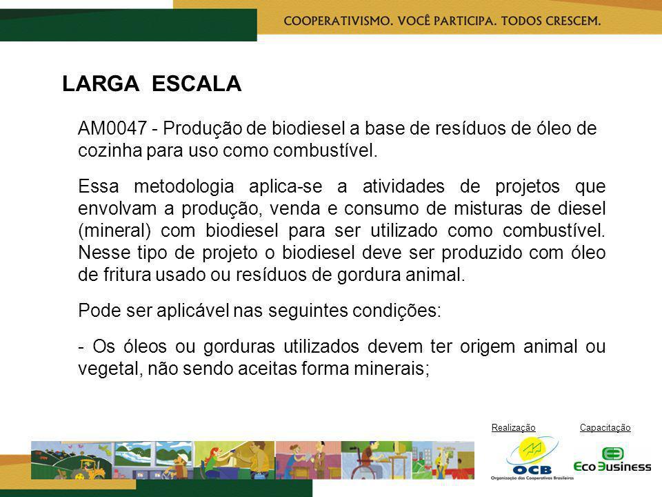 LARGA ESCALA AM0047 - Produção de biodiesel a base de resíduos de óleo de cozinha para uso como combustível.