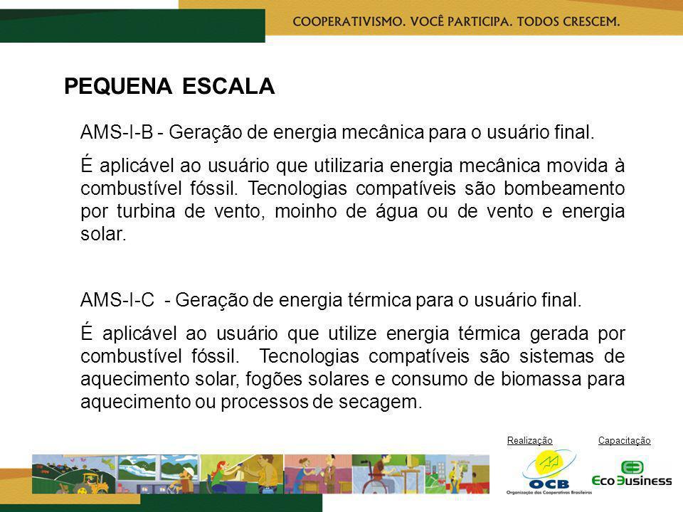 PEQUENA ESCALA AMS-I-B - Geração de energia mecânica para o usuário final.