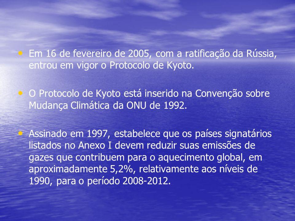 Em 16 de fevereiro de 2005, com a ratificação da Rússia, entrou em vigor o Protocolo de Kyoto.