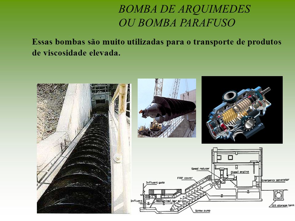 BOMBA DE ARQUIMEDES OU BOMBA PARAFUSO