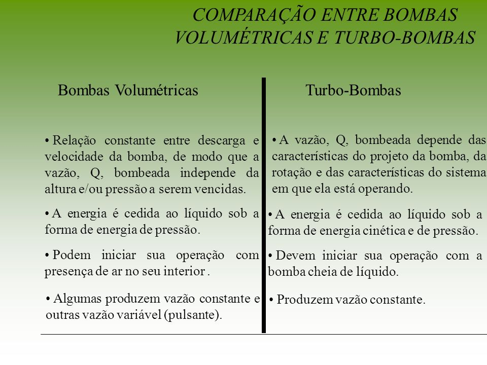 COMPARAÇÃO ENTRE BOMBAS VOLUMÉTRICAS E TURBO-BOMBAS