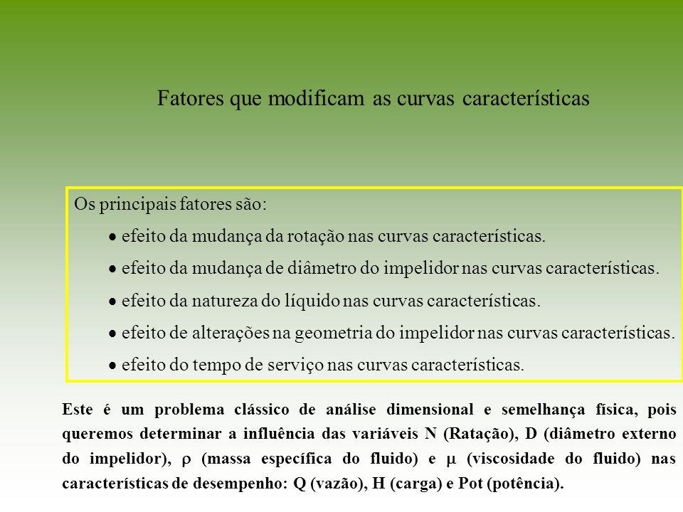 Fatores que modificam as curvas características