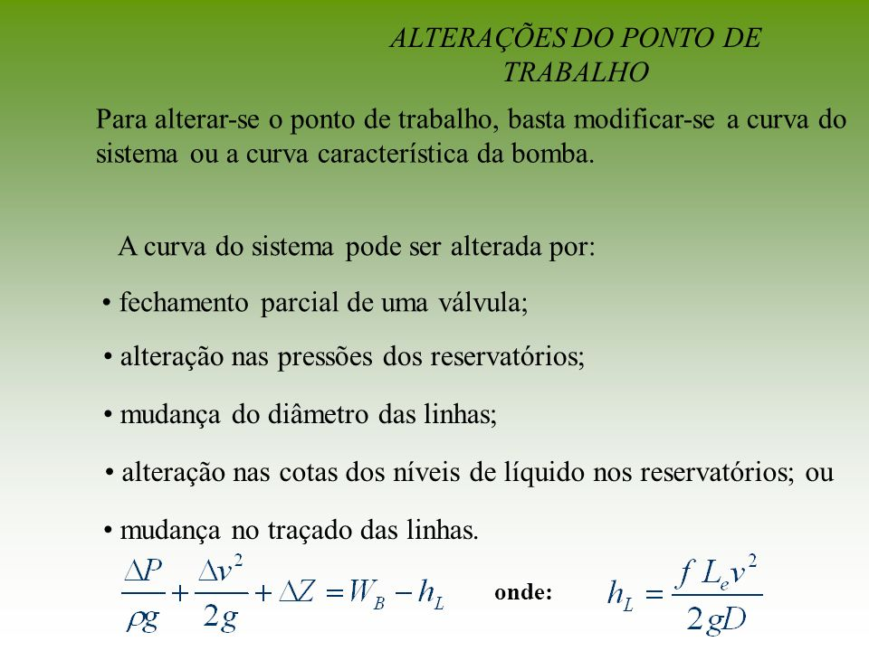 ALTERAÇÕES DO PONTO DE TRABALHO