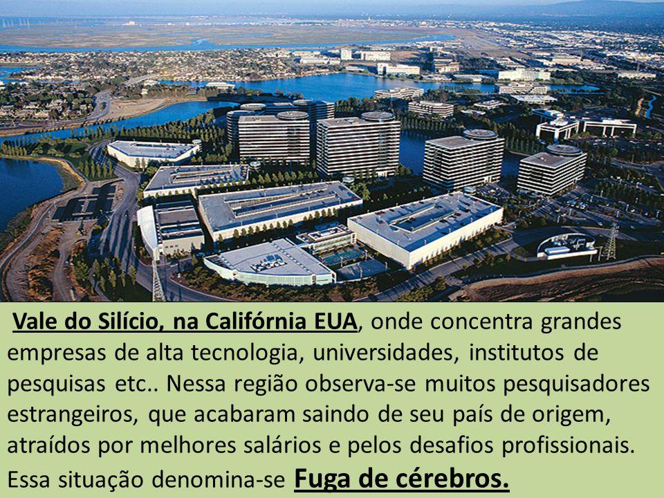 Vale do Silício, na Califórnia EUA, onde concentra grandes empresas de alta tecnologia, universidades, institutos de pesquisas etc..