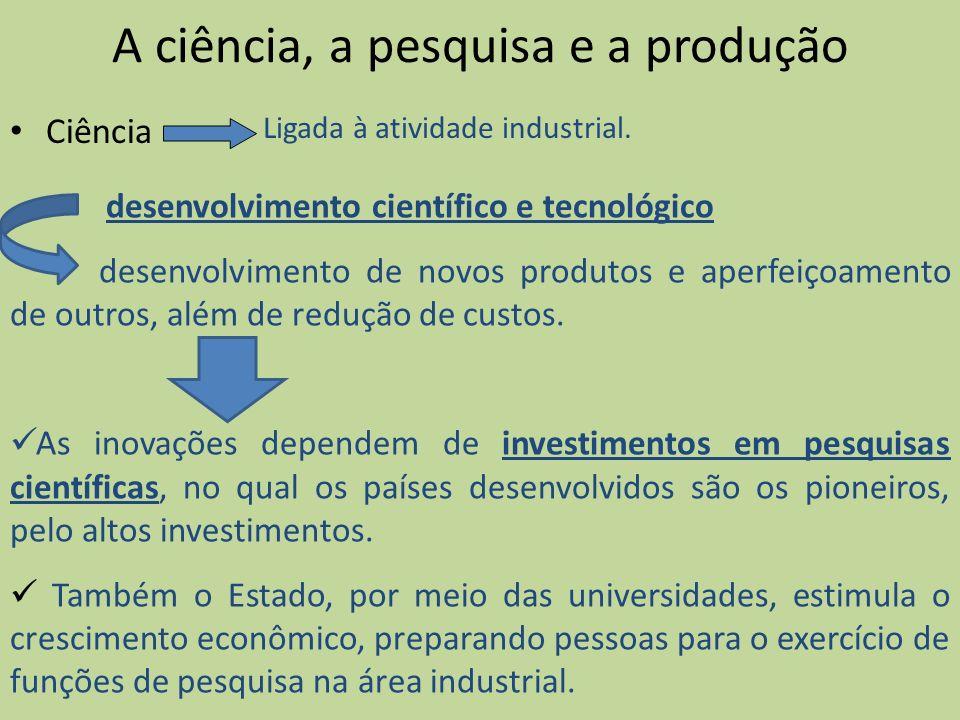 A ciência, a pesquisa e a produção