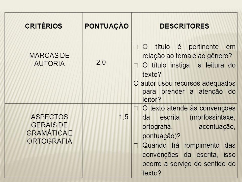 ASPECTOS GERAIS DE GRAMÁTICA E ORTOGRAFIA