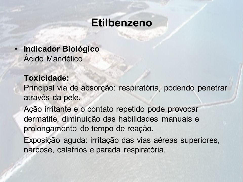 Etilbenzeno Indicador Biológico Ácido Mandélico Toxicidade: Principal via de absorção: respiratória, podendo penetrar através da pele.