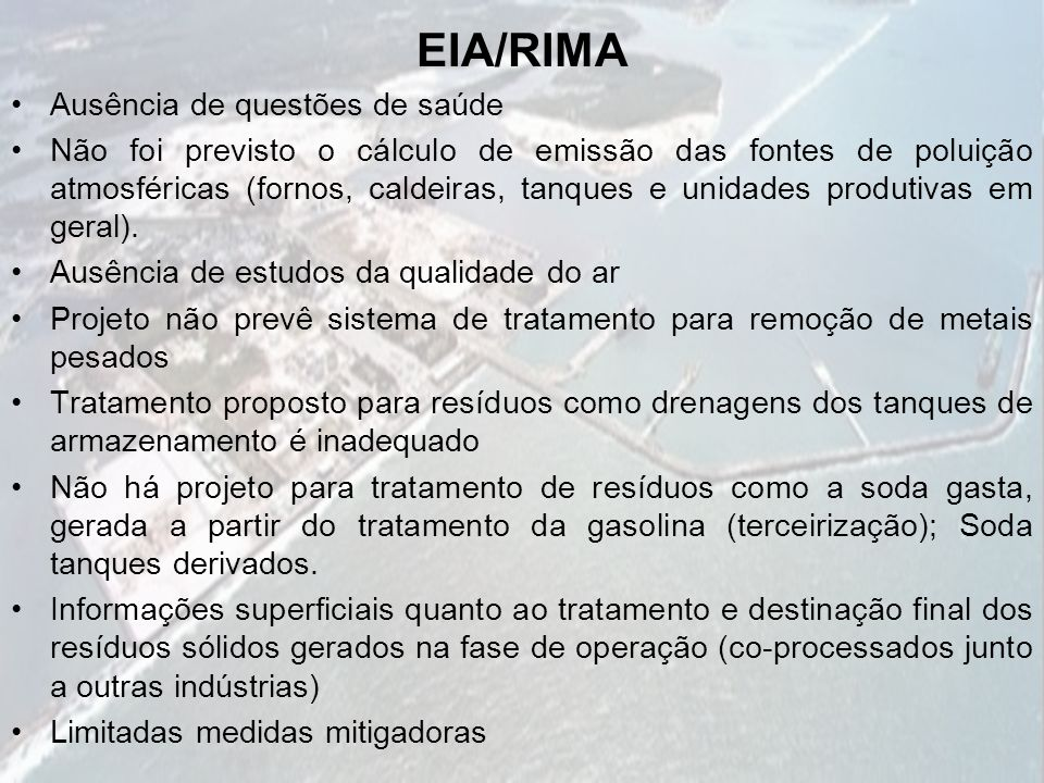 EIA/RIMA Ausência de questões de saúde