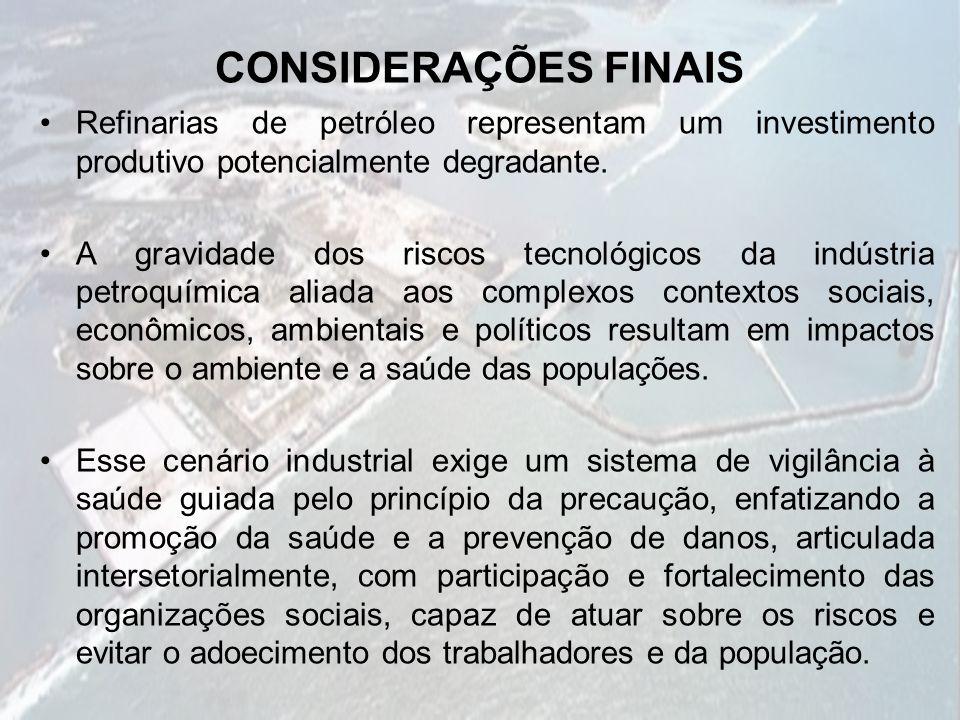 CONSIDERAÇÕES FINAIS Refinarias de petróleo representam um investimento produtivo potencialmente degradante.