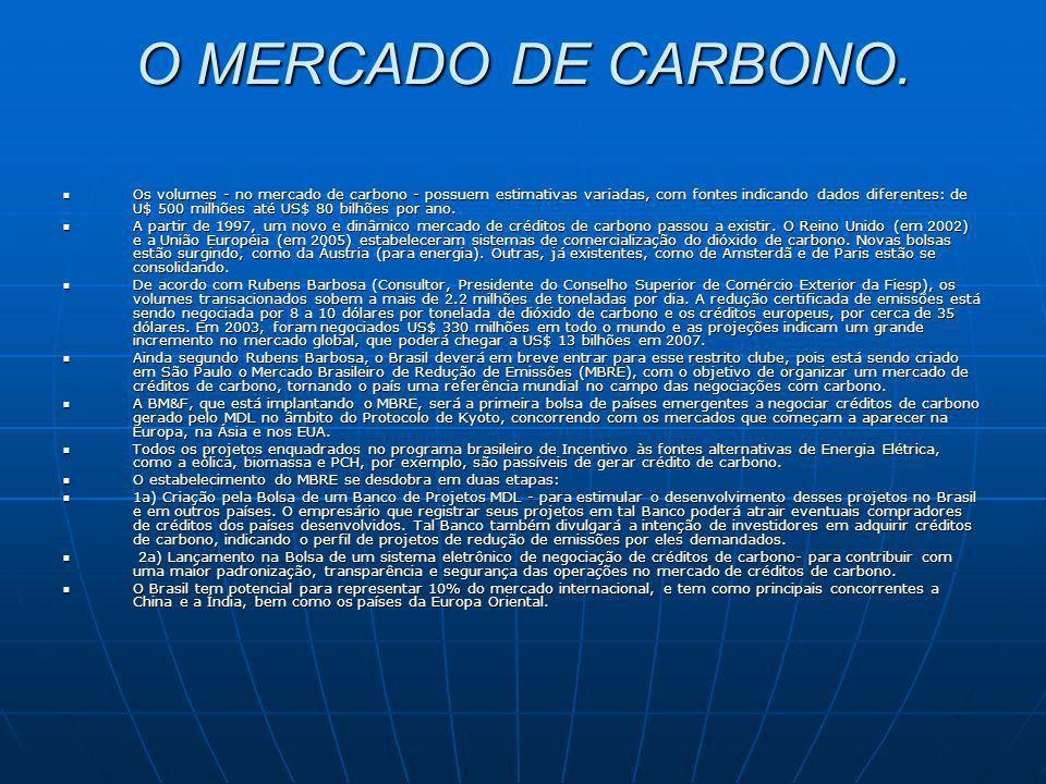 O MERCADO DE CARBONO.