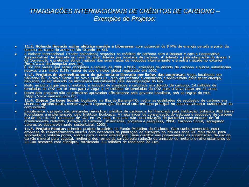 TRANSACÕES INTERNACIONAIS DE CRÉDITOS DE CARBONO – Exemplos de Projetos: