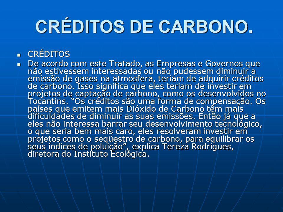 CRÉDITOS DE CARBONO. CRÉDITOS