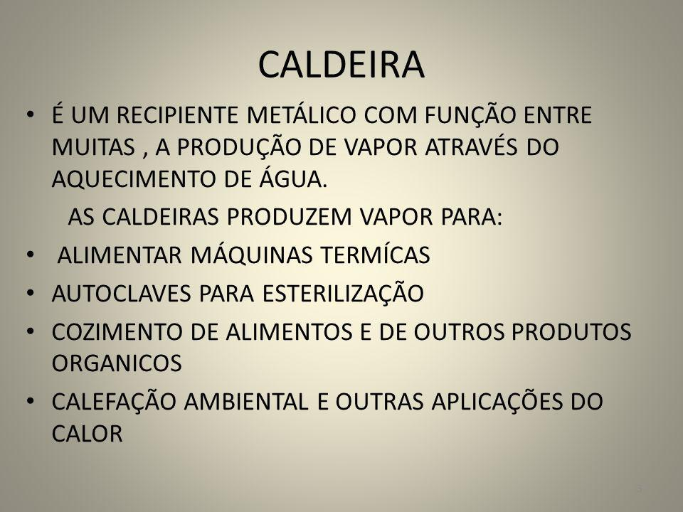 CALDEIRA É UM RECIPIENTE METÁLICO COM FUNÇÃO ENTRE MUITAS , A PRODUÇÃO DE VAPOR ATRAVÉS DO AQUECIMENTO DE ÁGUA.