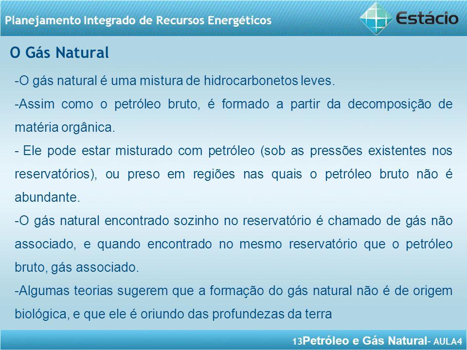 O Gás Natural O gás natural é uma mistura de hidrocarbonetos leves.