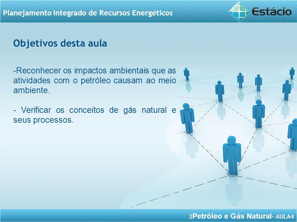 Objetivos desta aula Reconhecer os impactos ambientais que as atividades com o petróleo causam ao meio ambiente.