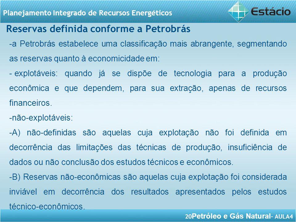 Reservas definida conforme a Petrobrás
