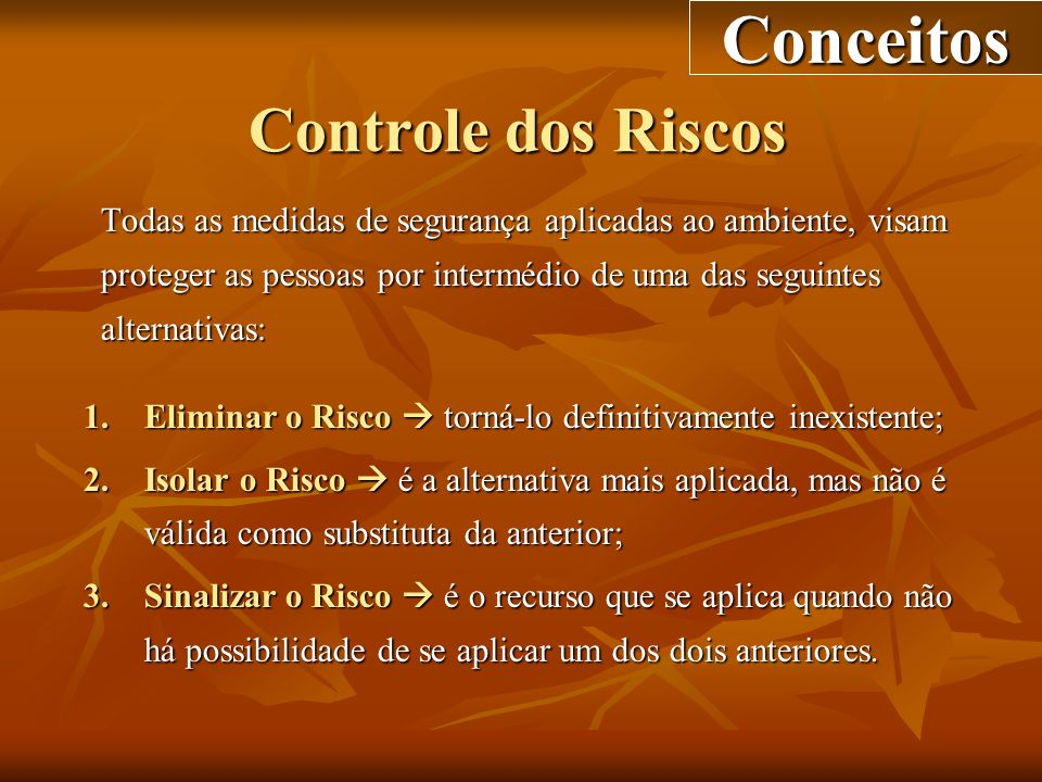 Conceitos Controle dos Riscos