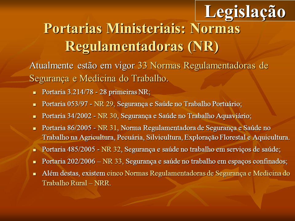 Portarias Ministeriais: Normas Regulamentadoras (NR)
