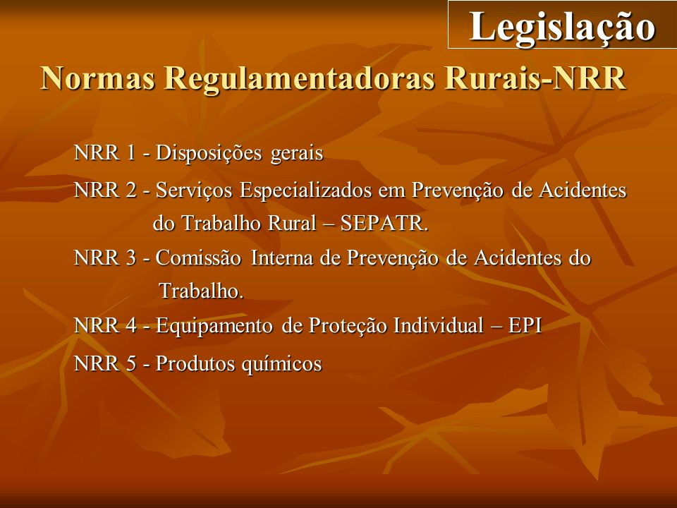 Normas Regulamentadoras Rurais-NRR