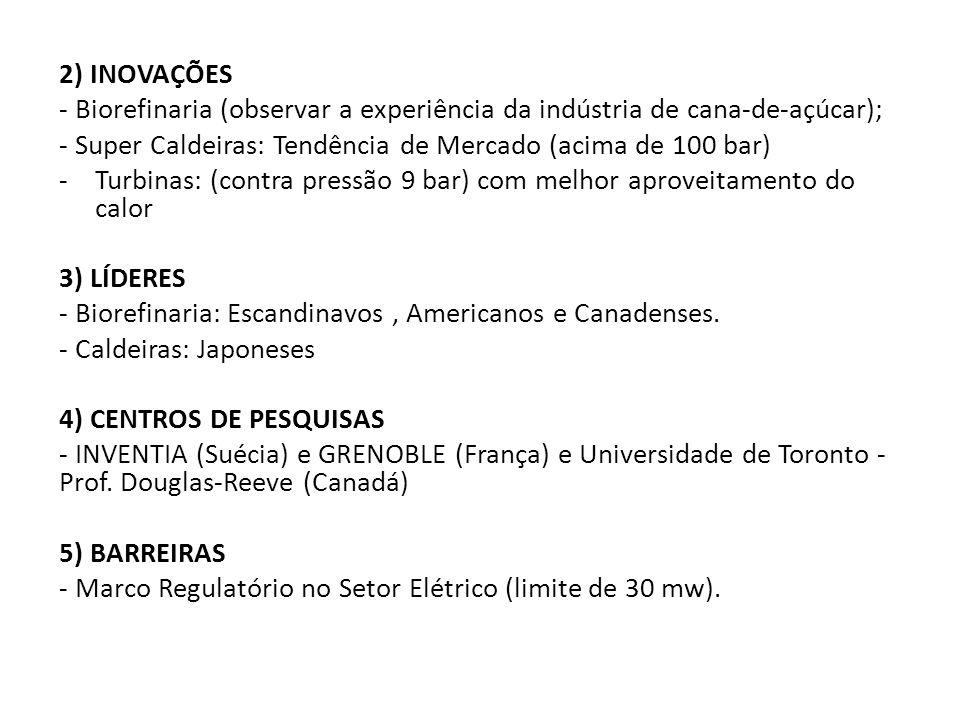 2) INOVAÇÕES - Biorefinaria (observar a experiência da indústria de cana-de-açúcar); - Super Caldeiras: Tendência de Mercado (acima de 100 bar)
