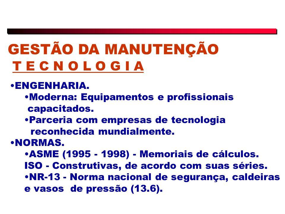 GESTÃO DA MANUTENÇÃO T E C N O L O G I A ENGENHARIA.