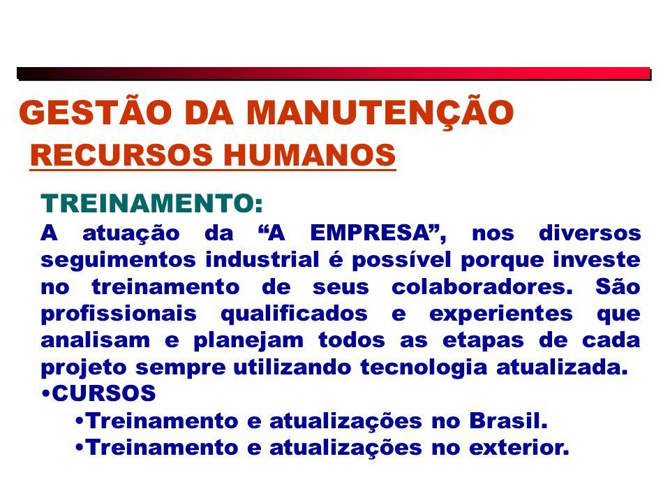 GESTÃO DA MANUTENÇÃO RECURSOS HUMANOS TREINAMENTO: