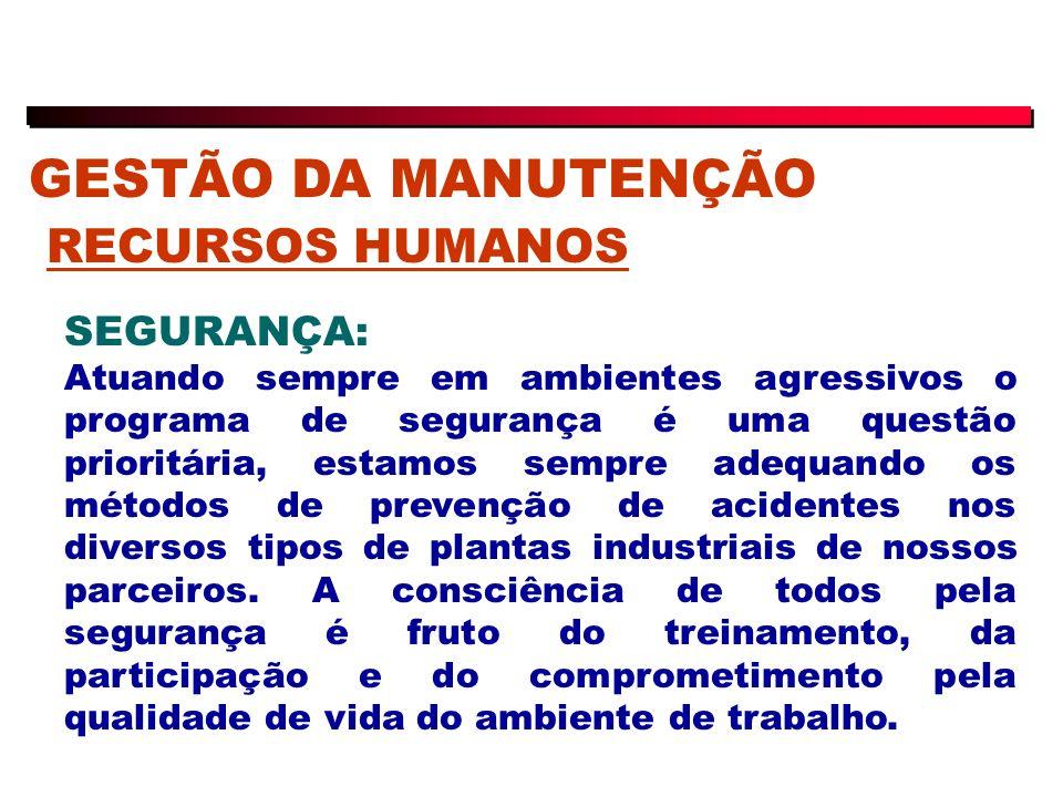 GESTÃO DA MANUTENÇÃO RECURSOS HUMANOS SEGURANÇA: