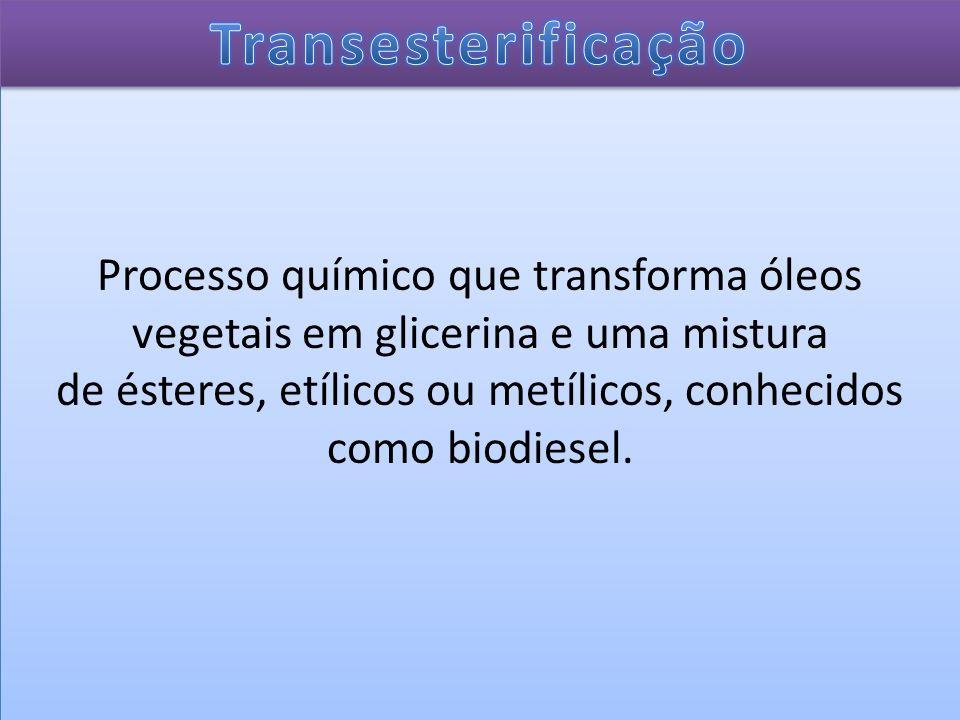 Processo químico que transforma óleos vegetais em glicerina e uma mistura de ésteres, etílicos ou metílicos, conhecidos como biodiesel.