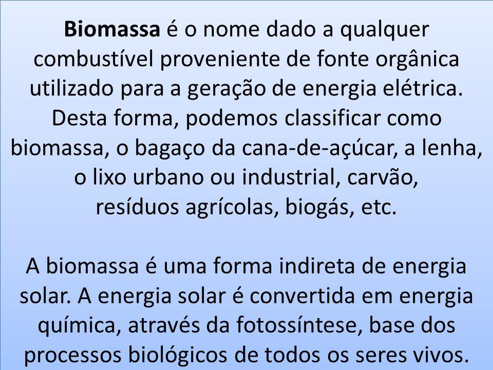 Biomassa é o nome dado a qualquer combustível proveniente de fonte orgânica utilizado para a geração de energia elétrica. Desta forma, podemos classificar como biomassa, o bagaço da cana-de-açúcar, a lenha, o lixo urbano ou industrial, carvão, resíduos agrícolas, biogás, etc.
