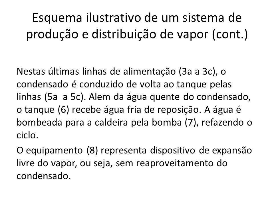 Esquema ilustrativo de um sistema de produção e distribuição de vapor (cont.)