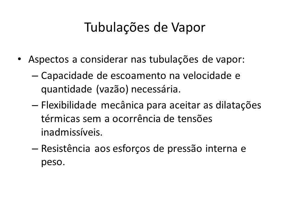 Tubulações de Vapor Aspectos a considerar nas tubulações de vapor: