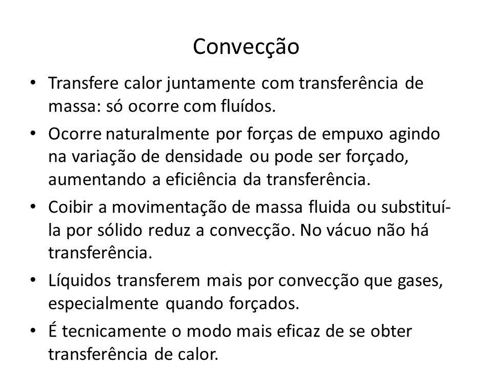 Convecção Transfere calor juntamente com transferência de massa: só ocorre com fluídos.