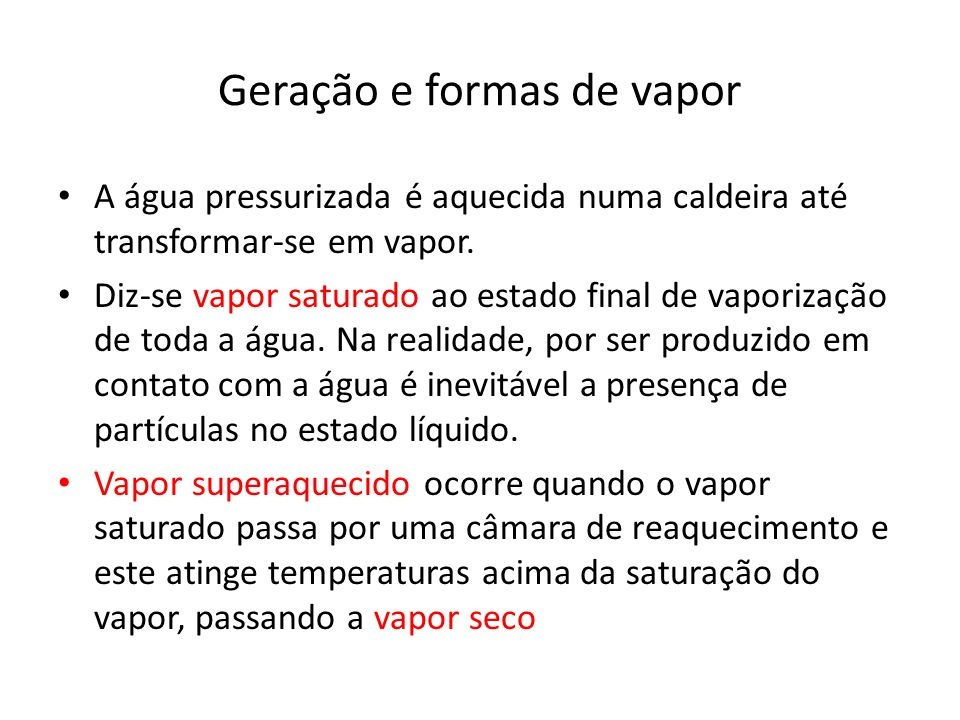 Geração e formas de vapor