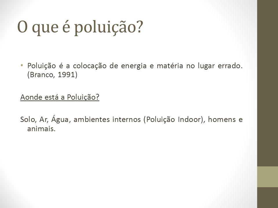 O que é poluição Poluição é a colocação de energia e matéria no lugar errado. (Branco, 1991) Aonde está a Poluição