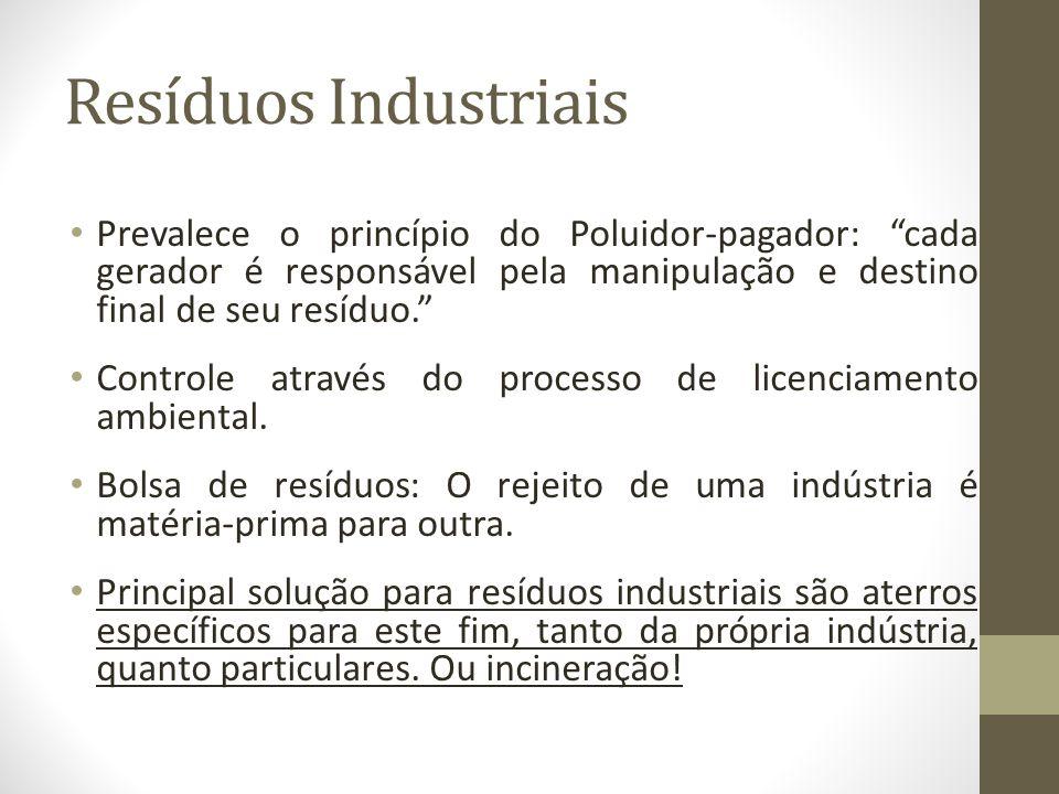 Resíduos Industriais Prevalece o princípio do Poluidor-pagador: cada gerador é responsável pela manipulação e destino final de seu resíduo.