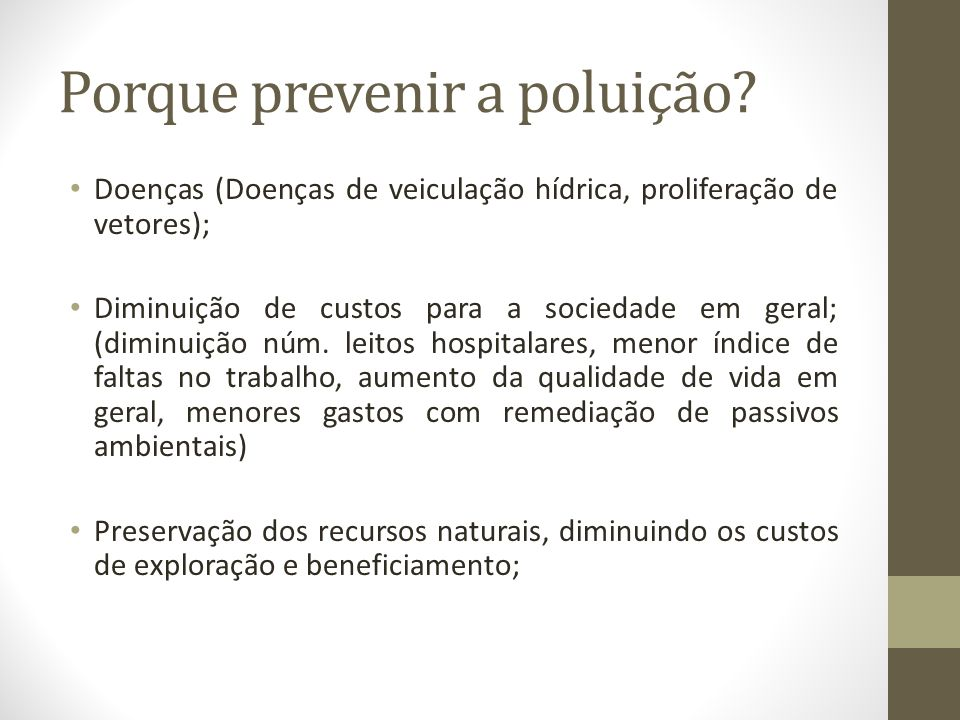 Porque prevenir a poluição