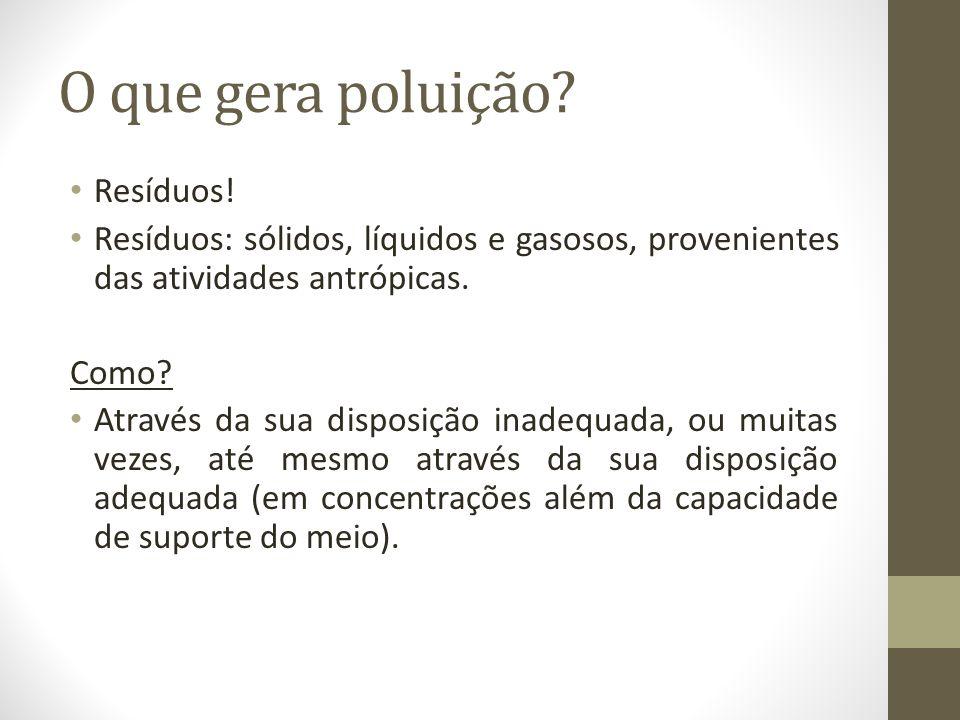 O que gera poluição Resíduos!