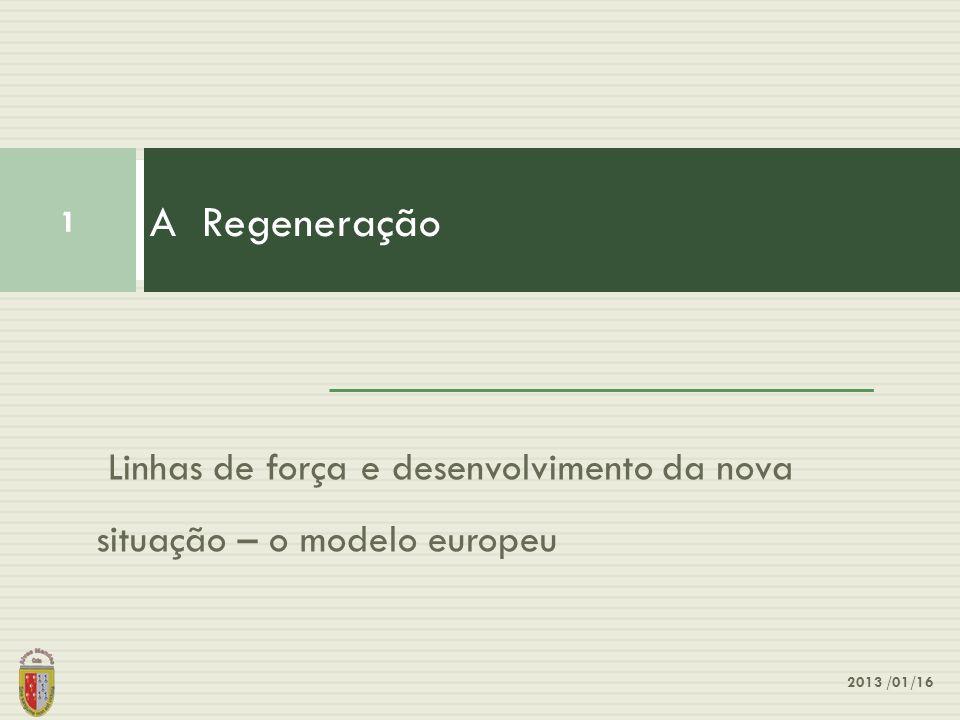 A Regeneração Linhas de força e desenvolvimento da nova situação – o modelo europeu 2013 /01/16