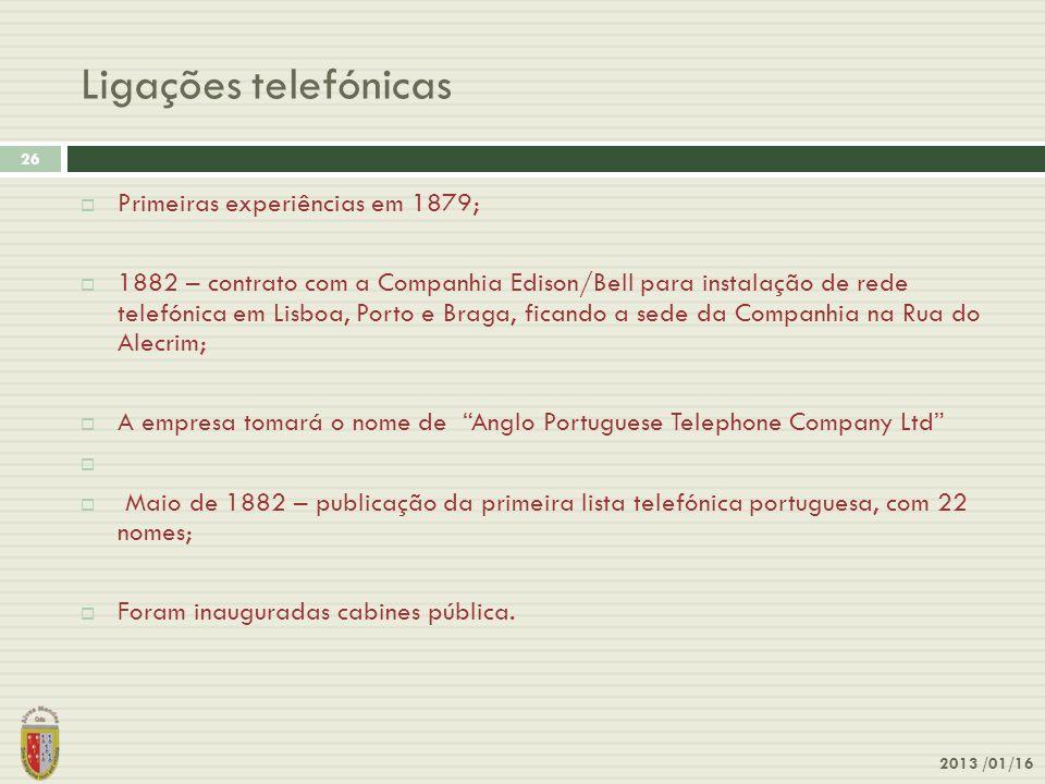 Ligações telefónicas Primeiras experiências em 1879;