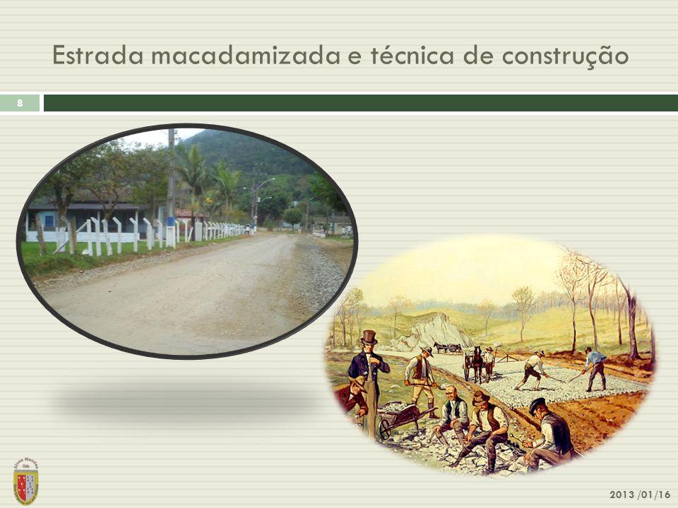 Estrada macadamizada e técnica de construção