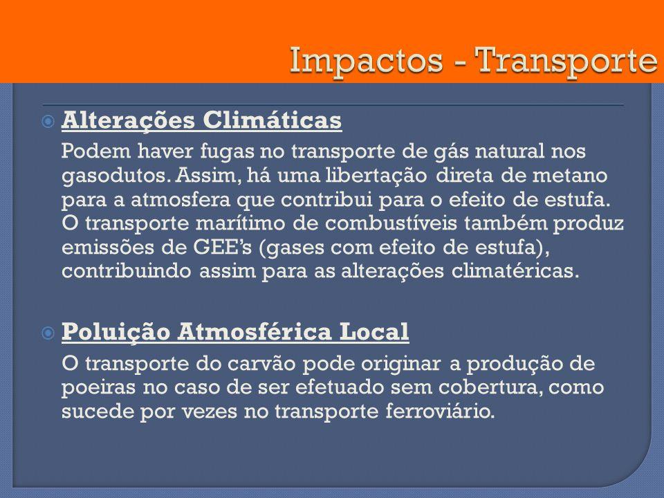Impactos - Transporte Alterações Climáticas Poluição Atmosférica Local