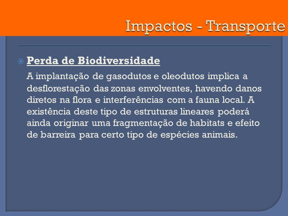 Impactos - Transporte Perda de Biodiversidade.