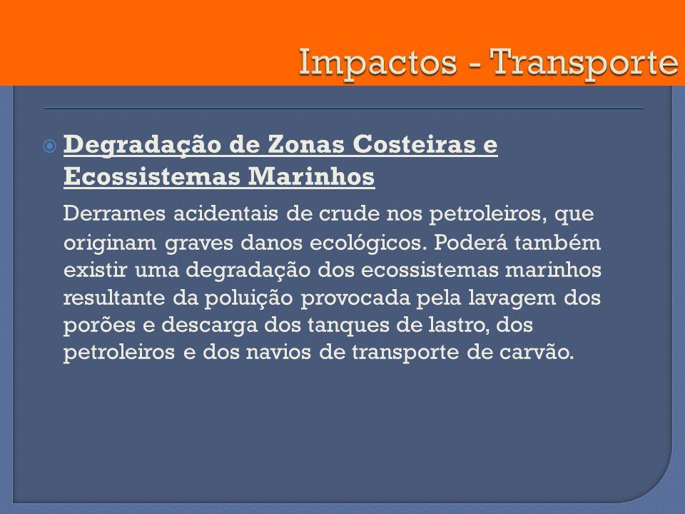 Impactos - Transporte Degradação de Zonas Costeiras e Ecossistemas Marinhos.