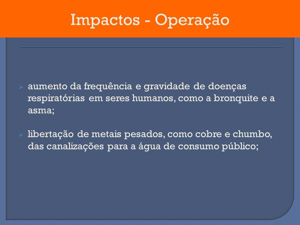 Impactos - Operação aumento da frequência e gravidade de doenças respiratórias em seres humanos, como a bronquite e a asma;