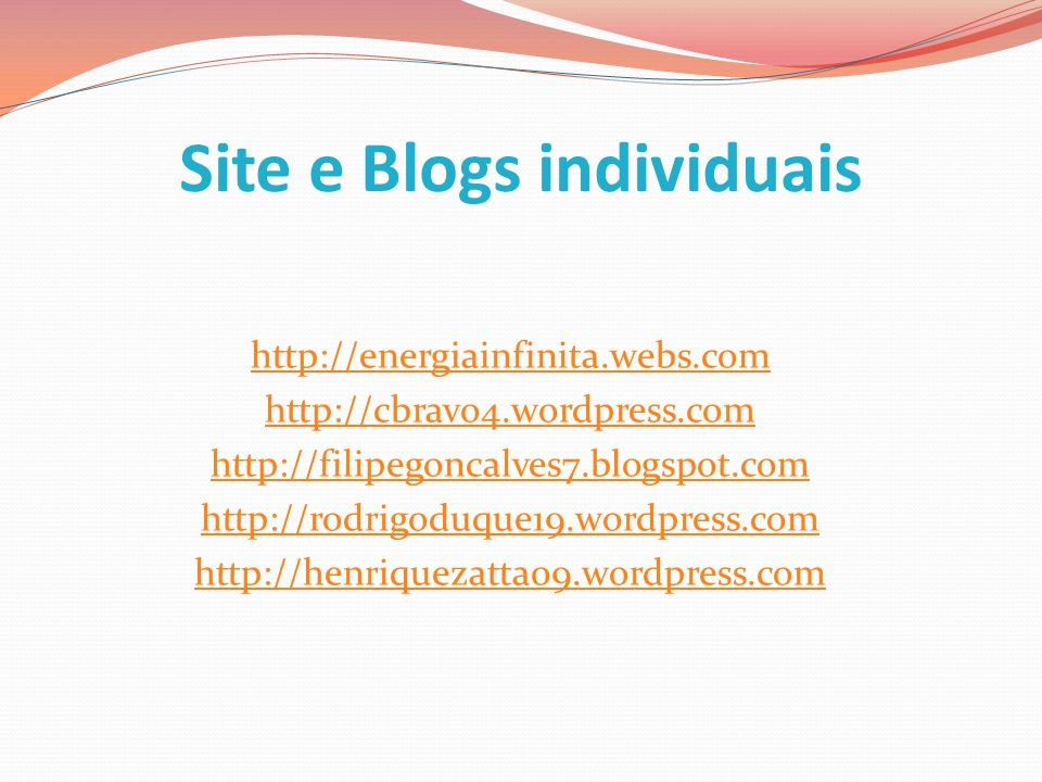 Site e Blogs individuais