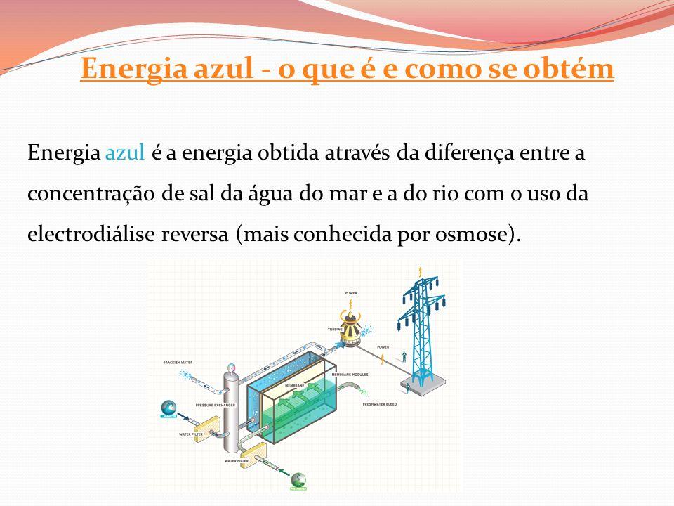 Energia azul - o que é e como se obtém Energia azul é a energia obtida através da diferença entre a concentração de sal da água do mar e a do rio com o uso da electrodiálise reversa (mais conhecida por osmose).