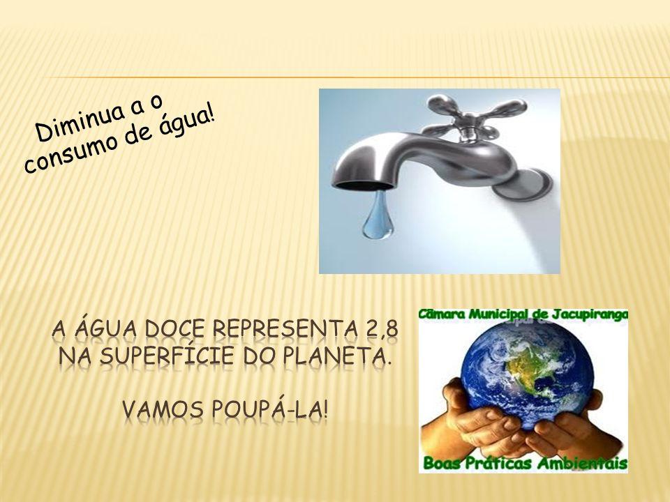A água doce representa 2,8 na superfície do planeta. Vamos poupá-la!