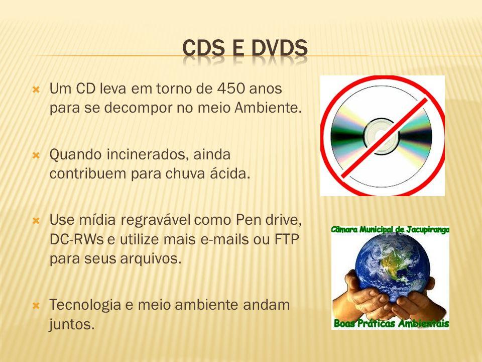 CDs e DVDs Um CD leva em torno de 450 anos para se decompor no meio Ambiente. Quando incinerados, ainda contribuem para chuva ácida.
