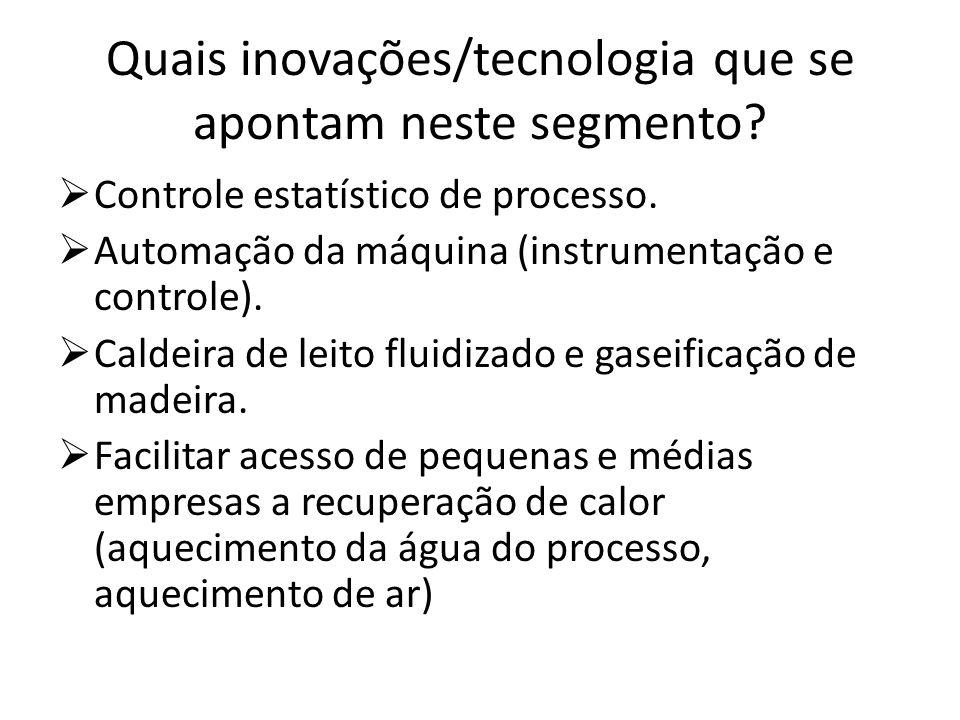 Quais inovações/tecnologia que se apontam neste segmento